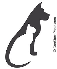Grey dog and white cat silhouettes composition