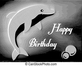 Beautiful grey dolphin happy birthday card
