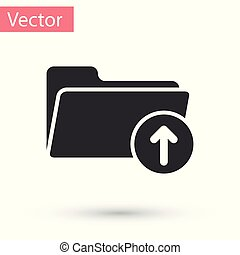 Grey Download arrow with folder icon isolated on white background. Vector Illustration