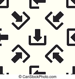 Grey Download icon isolated seamless pattern on white background. Upload button. Load symbol. Arrow point to down. Vector Illustration