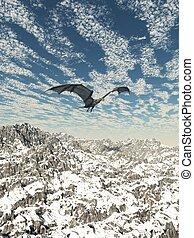 Grey Dragon Flying over the Mountai