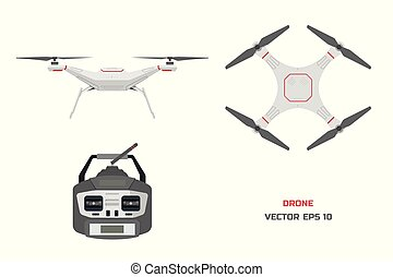 Grey drone on a white background. The control panel of quadrocopter . Front, top view