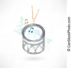 grey drum grunge icon