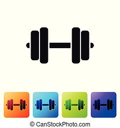 Grey Dumbbell icon isolated on white background. Muscle lifting icon, fitness barbell, gym icon, sports equipment symbol, exercise bumbbell. Set icon in color square buttons. Vector Illustration