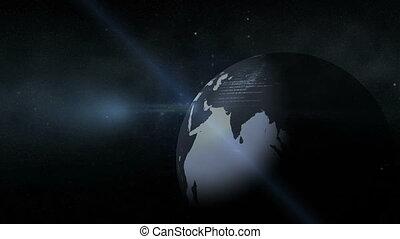 Grey earth in the dark with scrolli