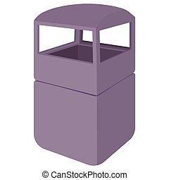Grey empty steel bin icon, cartoon style