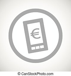 Grey euro screen sign icon