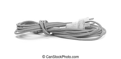 Grey extension cord isolated on white