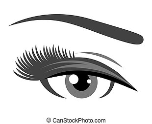 grey eye with long eyelashes on white background