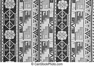 Grey fabric background with geometry pattern closeup
