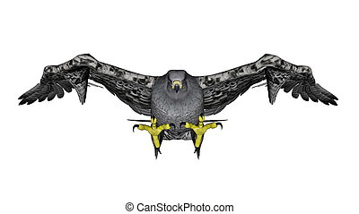 Grey falcon flying - 3D render