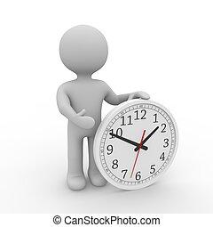 grey figure holding an analogue clock