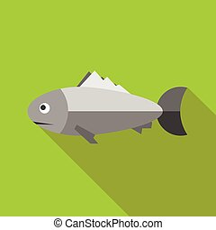 Grey fish icon, flat style