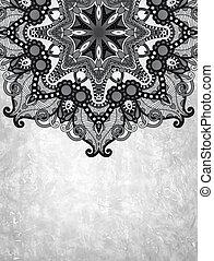 grey flower ornamental circle design on grunge background
