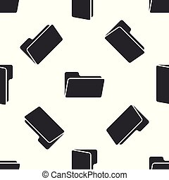 Grey Folder icon isolated seamless pattern on white background. Vector Illustration