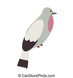 grey forest bird flat illustration