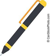Grey fountain pen icon, flat style