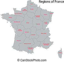 Grey France map - Map of administrative divisions of France