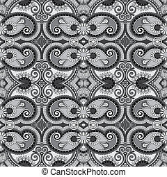 grey geometry vintage floral seamless pattern, black and white collection
