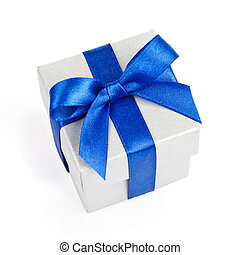 Grey gift box isolated