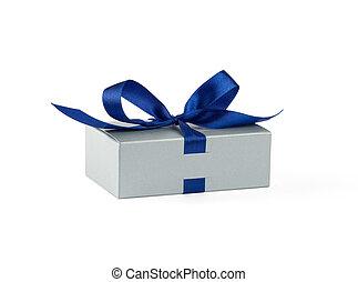 Grey gift box with blue ribbon