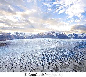 Grey glacier at sunset.