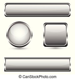 Grey glass buttons with chrome frame