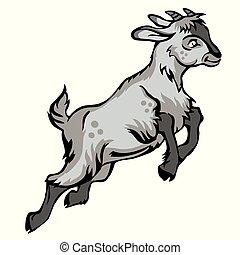 Grey Goat - Decorative jumping funny cartoon goat kid. ...