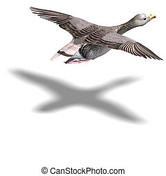 grey goose in flight. 3D rendering with clipping path and ...