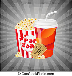 Grey Grungy Background With Popcorn