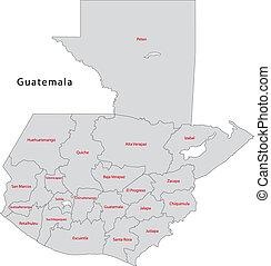 Grey Guatemala map - Administrative divisions of Guatemala