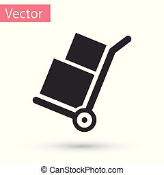 Grey Hand truck and boxes icon isolated on white background. Dolly symbol. Vector Illustration