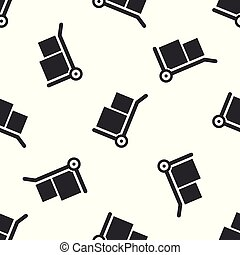 Grey Hand truck and boxes icon isolated seamless pattern on white background. Dolly symbol. Vector Illustration