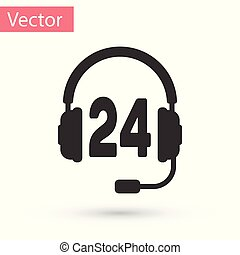 Grey Headphone for support or service icon on white background. Concept of consultation, hotline, call center, faq, maintenance, assistance. Vector Illustration