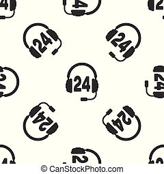 Grey Headphone for support or service icon seamless pattern on white background. Concept of consultation, hotline, call center, faq, maintenance, assistance. Vector Illustration