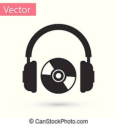 Grey Headphones and CD or DVD icon isolated on white background. Earphone sign. Compact disk symbol. Vector Illustration