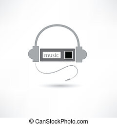 grey headphones and mp3 player