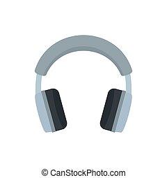 Grey headphones icon, flat style