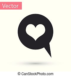 Grey Heart in speech bubble icon isolated on white background. Heart shape in message bubble. Love sign. Valentines day symbol. Vector Illustration