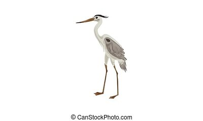 Grey heron icon animation best on white background for any design