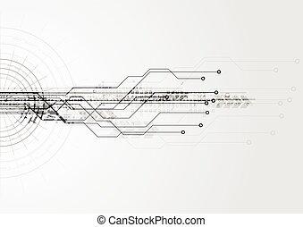 Grey hi-tech circuit board background. Vector design