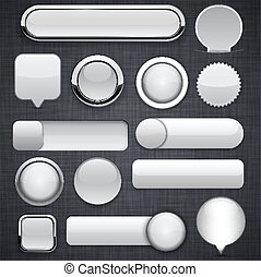 Grey high-detailed modern buttons. - Blank grey web buttons...