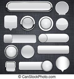 Grey high-detailed modern buttons. - Blank grey web buttons...