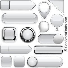Grey high-detailed modern buttons. - Blank grey web buttons ...