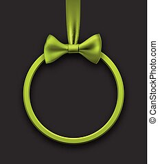 Grey holiday background with green bow.