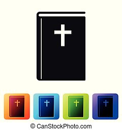 Grey Holy bible book icon isolated on white background. Set icon in color square buttons. Vector Illustration