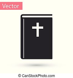 Grey Holy bible book icon isolated on white background. Vector Illustration