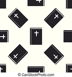 Grey Holy bible book icon isolated seamless pattern on white background. Vector Illustration