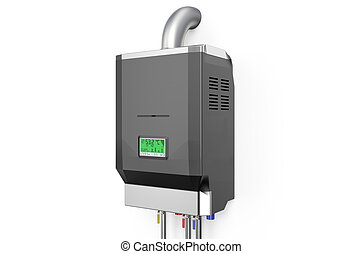 Grey home gas-fired boiler,  water heater