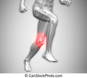 Grey human body running with ankle highlighted in red